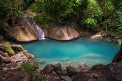 Erawan waterfall. Fourth cascade of Erawan waterfall in Erawan National Park, Thailand Royalty Free Stock Photography