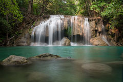 Erawan waterfall. Waterfall in green forest in Thailand Royalty Free Stock Photos