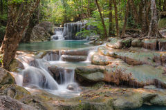 Erawan waterfall. Waterfall in green forest in Thailand Royalty Free Stock Images