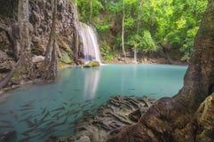 Erawan waterfall. Kanchanaburi province Thailand Asia Royalty Free Stock Photo