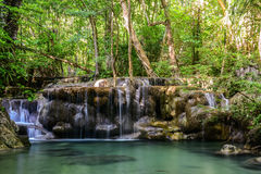 Erawan waterfall in kanchanaburi province ,Thailand Royalty Free Stock Photo