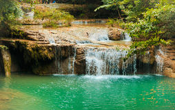 Erawan Waterfall in Kanchanaburi Royalty Free Stock Photos