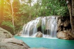 Erawan waterfall, Kanchanaburi, Thailand in Feb 2018 stock images