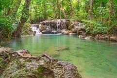 Erawan waterfall, Kanchanaburi travel Thailand. Asia Stock Photo