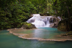 Erawan waterfall Royalty Free Stock Images