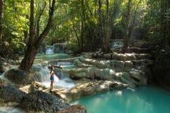 Erawan waterfall level 5 scenic Royalty Free Stock Images