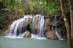 Erawan waterfall national park. Waterfall in Erawan Waterfalls National Park in Thailand Stock Photos