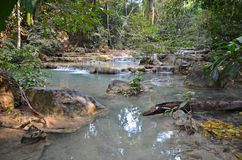 Erawan waterfall. Nature in Erawan Waterfalls National Park in Thailand stock images