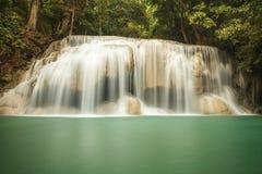 Erawan Waterfall. 2'nd floor of Era-wan Waterfall in Thailand Royalty Free Stock Photo