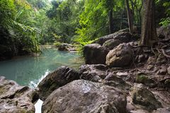 Erawan waterfall pond Stock Photography