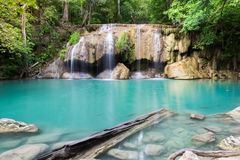 Erawan Waterfall with sunlight in the forest, Erawan National Pa. Rk in Kanchanaburi, Thailand royalty free stock photos