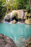 Erawan Waterfall with sunlight in the forest, Erawan National Pa. Rk in Kanchanaburi, Thailand royalty free stock photo