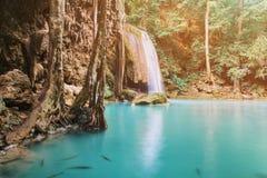 Erawan waterfall. In thailand Stock Images