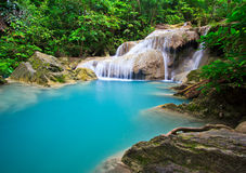 Erawan waterfall in Thailand Stock Images