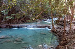 Erawan waterfalls. In Kanchanaburi province in Thailand Stock Photography