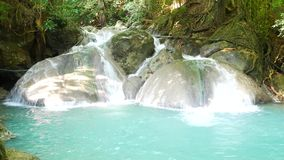 Erawan waterfalls, beautiful evergreen paradise of the Middle travelers. Ideal for relaxing stock video footage