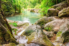 Erawan Waterfalls in Erawan National Park Stock Photography