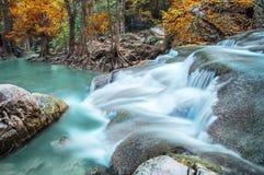 Erawan Waterfalls in Fall Stock Image