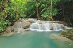 Erawan waterfalls. Erawan waterfall are big and beautiful in thailand Stock Photo