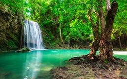 Erawanwaterval bij het Nationale Park van Thailand Royalty-vrije Stock Foto