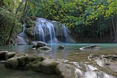 Erawanwaterval, het Nationale Park van Erawan in Kanchanaburi, Thailand Stock Foto