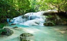 Erawanwaterval in Kanchanaburi, Thailand Stock Afbeeldingen