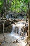 Erawanwatervallen in Thailand Stock Foto's
