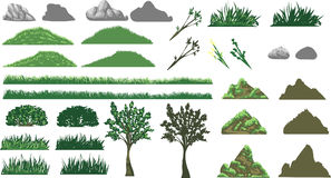 Erba, albero e colline impostati Fotografia Stock Libera da Diritti