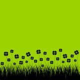 Erba con i cloverleafs, fondo verde Fotografia Stock Libera da Diritti