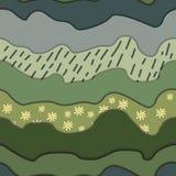 Erba con le margherite e le nuvole illustrazione di stock