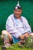 Erba di seduta del lottatore pesante di festival di Naadam Immagini Stock