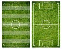 Erba di un campo di calcio Fondo del campo di calcio o del campo di football americano Fotografie Stock Libere da Diritti