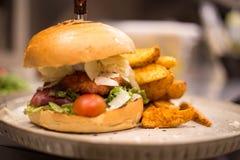 Erba Fed Bison Hamburger con il cheddar del formaggio e della lattuga immagini stock libere da diritti