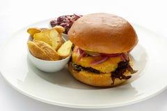 Erba Fed Bison Hamburger con lattuga e formaggio in piatto bianco immagini stock