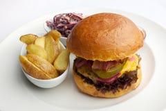 Erba Fed Bison Hamburger con lattuga e formaggio in piatto bianco fotografia stock libera da diritti