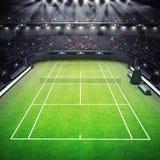 Erba il campo da tennis e lo stadio in pieno degli spettatori con i riflettori royalty illustrazione gratis