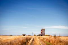Erba il percorso che conduce al terminale abbandonato di stoccaggio del grano in autunno Immagine Stock