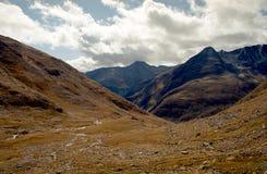 Erba il prato alpino circondato dalle alte montagne in alpi svizzere Immagini Stock Libere da Diritti
