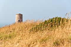 Erba lunga con la vecchia torre al capo di Frehel brittany franco Immagine Stock