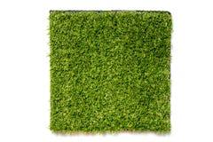 Erba verde artificiale nel quadrato su fondo bianco fotografia stock