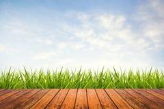 Erba verde con il pavimento di legno e del cielo Immagini Stock Libere da Diritti