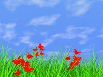 Erba verde fresca sulla priorità bassa del cielo blu Fotografia Stock