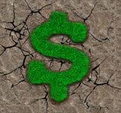 Erba verde nella forma del simbolo di dollaro sul fondo del suolo Immagine Stock Libera da Diritti