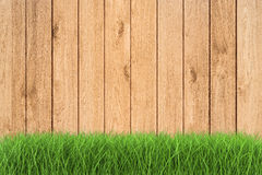 Erba verde su fondo di legno Immagine Stock Libera da Diritti