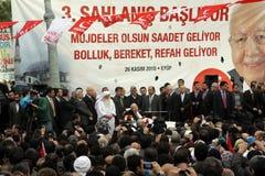 Erbakan lance la campagne d'élection dans Eyup Photo libre de droits