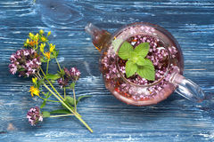 Erbal tea with mint and oregano Royalty Free Stock Photo