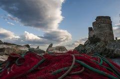 Erbalunga,游览d'Erbalunga,塔,港口,热那亚人的塔,可西嘉岛,盖帽Corse,欧特Corse,上部Corse,法国,欧洲,海岛 免版税库存图片