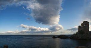 Erbalunga, d'Erbalunga путешествия, башня, гавань, Genoese башня, Корсика, крышка Corse, Haute Corse, верхнее Corse, Франция, Е Стоковые Изображения