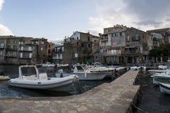 Erbalunga, port, schronienie, wioska rybacka, łodzie, Corsica, nakrętka Corse, Haute Corse, Górny Corse, Francja, Europa, wyspa Zdjęcie Stock