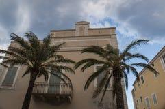 Erbalunga, wioska rybacka, linia horyzontu, Corsica, nakrętka Corse, Haute Corse, Górny Corse, Francja, Europa, wyspa Zdjęcie Royalty Free